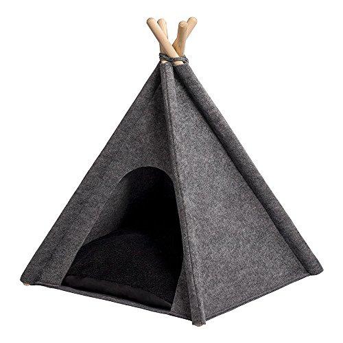 MYANIMALY Tipi Zelt für Haustiere, Katzenzelt, Haustierbett, Haustierhütte für Hunde und Katzen mit beidseitig anwendbarem Kissen, Gestell aus Kiefernholz (80 x 80 cm, Grau/Schwarz)