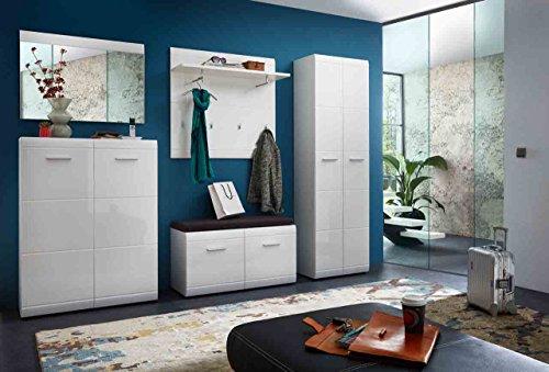 lifestyle4living Garderoben-Set. Garderobe, Flur-Garderobe, Diele, Schuhschrank, Garderobenschrank, Paneel, Hutablage, Schrank, Spiegel, Hochglanz, weiß