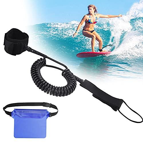 DECARETA Surfboard Paddle Leash 7mm Sup Sicherheitsleine Surf Sicherheitsfuß Doppelwirbel Elastische Leash mit Fußschlaufe Klettverschluss und 1 wasserdichte Tasche für Sup Board Stand Up