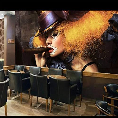 TapTheDecor 3D-wandscherm, groot, minimalistisch, modern, clown, vintage, meis, rook, stof, zijde, 5D, voor het afdrukken van foto's, muurkunst, decoratie voor woonkamer, slaapkamer, kantoor, plafond 280cm(W) x 180cm(H) (9.19 x 5.91) ft