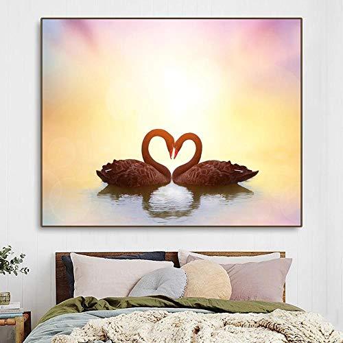 Cuadro de cisne Animal lienzo póster impresión decoración del hogar pintura arte de pared para sala de estar decoración de habitación de boda regalo 50x72cm sin marco