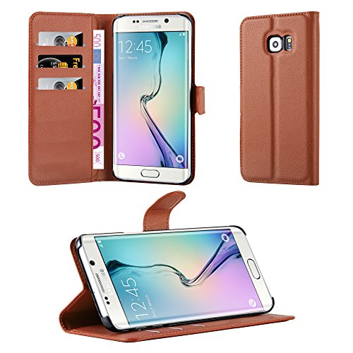 Cadorabo Hülle für Samsung Galaxy S6 Edge Plus in Schoko BRAUN - Handyhülle mit Magnetverschluss, Standfunktion & Kartenfach - Hülle Cover Schutzhülle Etui Tasche Book Klapp Style