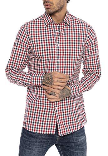 Red Bridge Herren Hemd Casual Plaid Shirts Modern Fit Langarm Kariert Dunkelblau Rot M
