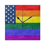FANTAZIO Fantasio Quadratischer Wecker fr Kinder, amerikanische USA-Regenbogen-Flagge, Stand/Hngende Uhr, batteriebetrieben