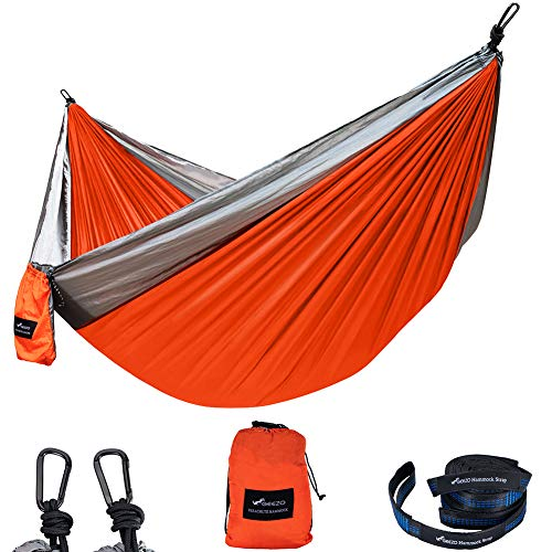 GEEZO Double Camping Hammock, Lightweight Portable Parachute (2 Tree Straps 16 LOOPS/10 FT Included) 500lbs Capacity Hammock for Backpacking, Camping, Travel, Beach, Garden (Orange)