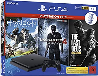 PlayStation 4  - Hits Bundle (1TB, schwarz, slim) inkl. Uncharted 4, The Last of Us, Horizon Zero Dawn (B07SRBD7RD) | Amazon price tracker / tracking, Amazon price history charts, Amazon price watches, Amazon price drop alerts