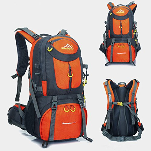Sports Outdoor Backpack,50 L,Travel Backpack,Rucksack,Hiking Backpack,Ideal For Outdoor Sports,Hiking,Trekking,Camping,Travelling,Climbing Waterproof Climbing Bag,Rock Climbing Daypacks,Orange