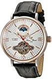 Lucien Piccard Men's 'Babylon' Automatic Stainless Steel and Black Leather Casual Watch (Model:...