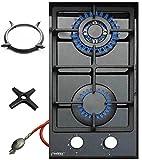 Phönix 102GBT Gaskochfeld Glas Gaskocher 2 flammig, Guss Wok-Aufsatz + Herdkreuz