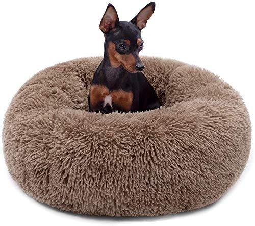 Wuudi Cuccia per animali domestici, cuccia rotonda per gatti, cuscino per cani, divano per cani, ciambella, lavabile, antiscivolo, adatto per cani e gatti 50 cm (kaki)