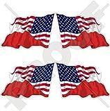 USA Vereinigte Staaten von Amerika und POLEN, Amerikanisch und Polnische Wehende Flagge, Fahne 50mm Auto & Motorrad Aufkleber, x4 Vinyl Stickers (Links - Rechts)
