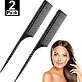 2 Pack Black Rat Tail Combs Carbon Styling Comb Fiber Anti Static and Heat Resistant Tail Comb for Back Combing, Root...