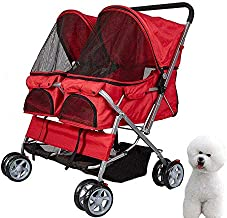 KARMAS PRODUCT Double Pet Stroller Wheels Large Strollers for Dogs Cover Red