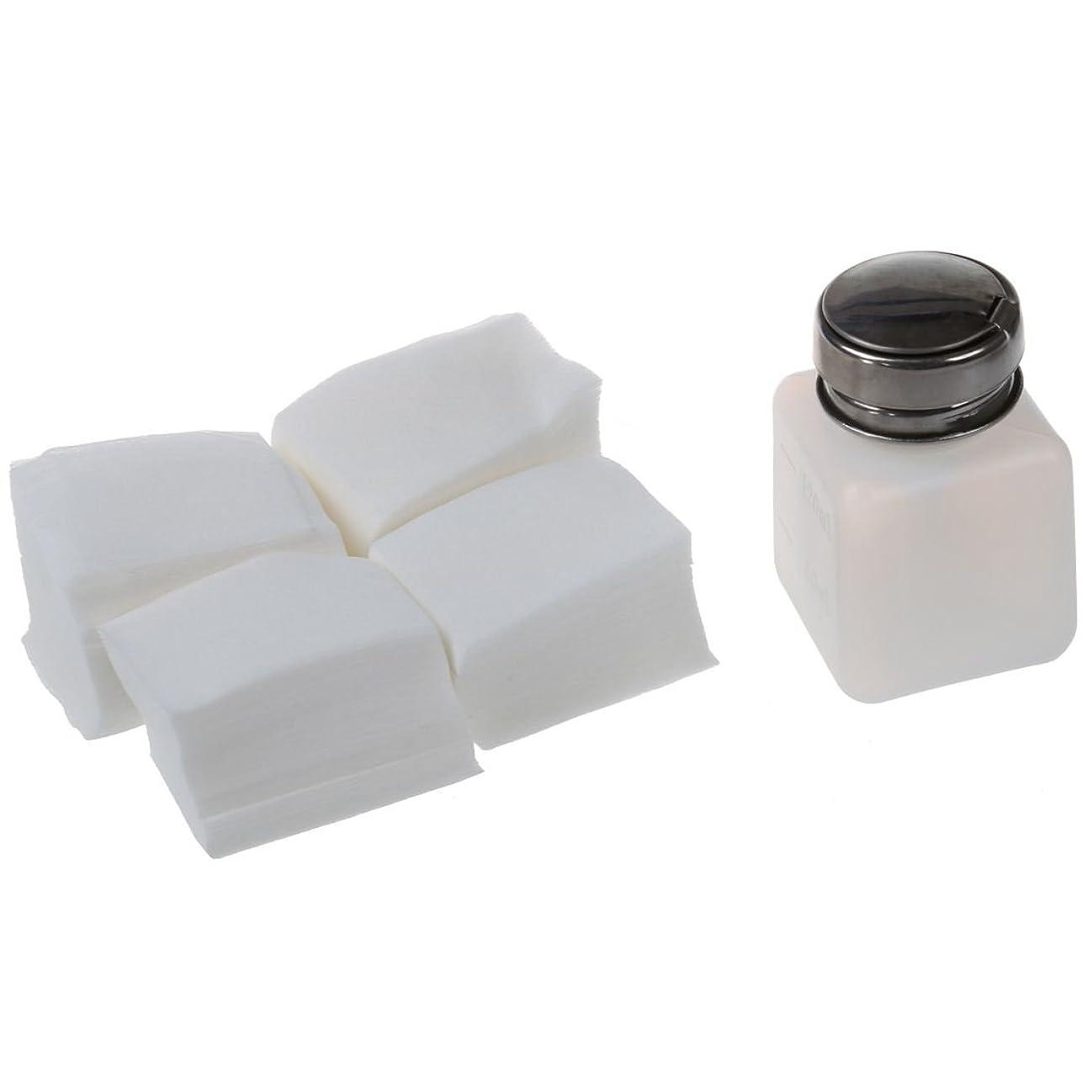 権限を与えるナチュラルシンポジウムRETYLY ネイルアクリルUVジェルコットンリムーバー クリーナー研磨ワイプパッド1 X ネイルアートボトル+ 400パッド