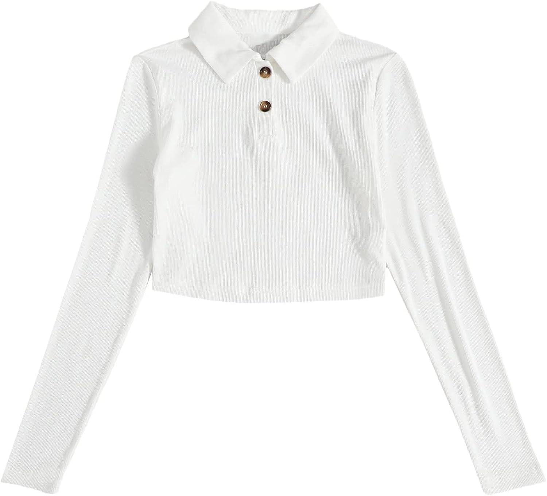 Verdusa Women's Buttoned Long Sleeve Polo Collar Rib Knit Crop Tee Top