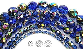 6mm (68 Beads) Sapphire Vitrail Coated, Czech Fire Polished Round Faceted Glass Beads, 16 inch Strand