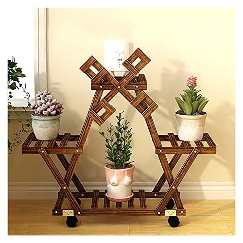 -Soporte de flores Soporte de flores de piso a techo de 4 capas, soporte de plantas de madera puede poner 1-4 soporte de exhibición de bonsái para el patio interior y al aire libre Terraza de jardín S