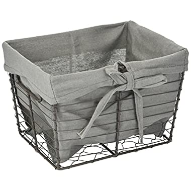 DII Home Traditions Vintage Metal Chicken Storage Basket with Removable Liner, Set of 3 Small Sized Fabric with Grey Wire