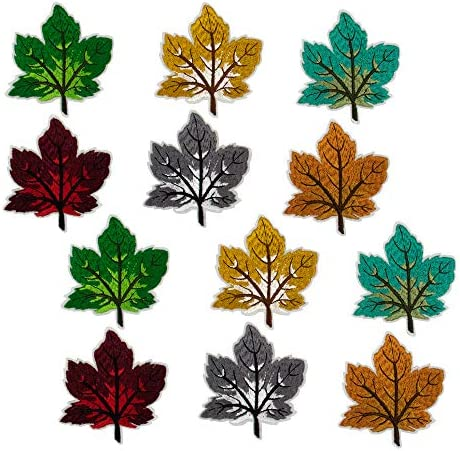 AUEAR 12 Pcs Assorted Colorful Maple Leaves Embroidered Patches Iron on Patche Autumn Fabric product image