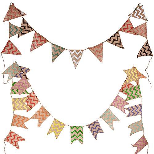BUONDAC 2pcs Guirnaldas Banderines Banderitas Tela de Lino Decoración Fiesta Navidad Cumpleaños Boda Bautizo Jardín Hogar Banderas Triangulares (Onda de Colores)