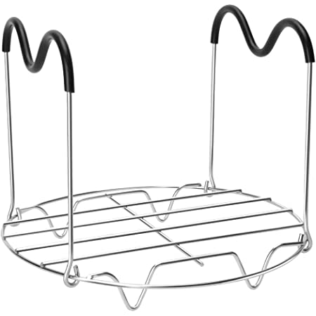 Steamer Rack Trivet with Heat Resistant Silicone Handles Compatible with Instant Pot Accessories 6 Qt 8 Quart, Stainless Steam Rack Pressure Cooker Trivet - Long Handles for Easy Chicken & Pot Removal
