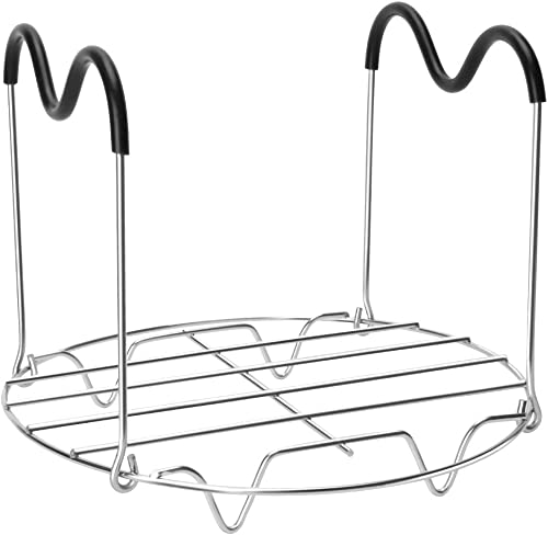 Steamer Rack Trivet with Heat Resistant Silicone Handles Compatible with Instant Pot Accessories 6 Qt 8 Quart, Stainless Steam Rack Pressure Cooker Trivet - Long Handles for Easy Chicken & Pot Removal product image