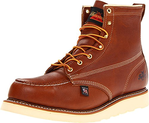 "Thorogood 804-4200 Men's American Heritage 6"" Moc Toe, MAXwear Wedge Safety Toe Boot, Tobacco Oil-Tanned - 10 D(M) US"
