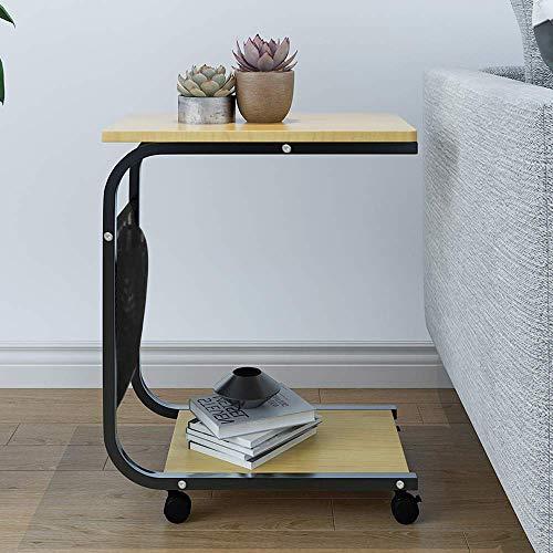 BOJU C-Shaped Mobile Sofa Bed Table on Wheels Side Table End Table Coffee Tea Snack Table with Storage Shelf & Magazine Bag for Living Room Bedroom Hallway (Walnutl)