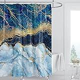 XPLJZ Cortina de la duchaAbstract Blue Stripe Shower Curtain Ink Painting Luxurious Liquid Marble Texture Bathroom Home Decor Polyester Cloth Curtains