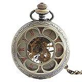 SGSG Reloj de Bolsillo de Cuarzo con Escala de números Romanos Vintage con Cadena