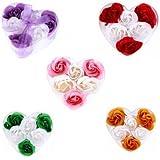 Lote 40 Estuches Corazón con 6 Flores de Jabón decorados con Lazo - Jabones, jaboncitos baratos corazones pétalos de rosas para Detalles de Bodas, Comuniones, Cumpleaños, San Valentín, Regalos