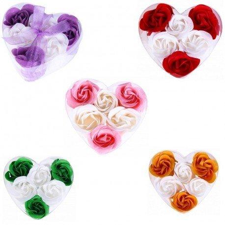 Lote de 15 Set Estuches Corazón con 6 Flores de Jabón decorados con Lazo - Jabones, jaboncitos baratos corazones pétalos de rosas para Detalles de Bodas, Comuniones, Cumpleaños, San Valentín, Regalos