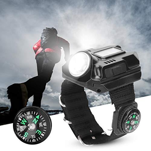 Muñequera con luz LED, Impermeable LED USB Recargable Reloj con luz de muñeca con brújula para Correr Montañismo Camping Supervivencia Senderismo Caza Patrulla