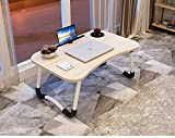 OPPIS Laptop Desk Bed Tray, Foldable Lap Desk Bed Table for Breakfast Serving, Notebook Table with Tablet Slots for Couch Floor for Adults/Students/Kids - Light Brown