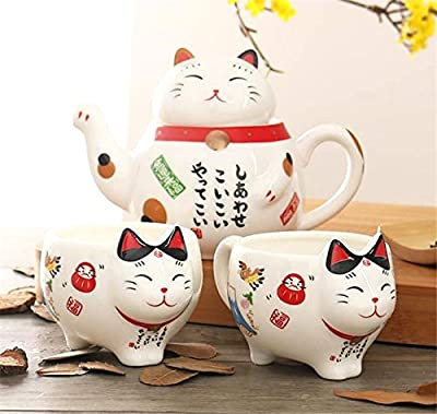 EatingBiting Charming Traditional Culture Japanese Design Maneki Neko Lucky Cat Ceramic teapot 1 Tea Pot and 2 Cups Set Package Gift Box Excellent Home Decor Asian Living Gift Chefs coffee mike tea