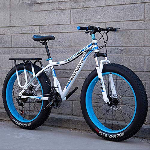 HCMNME Durable Bicycle Mens Fat Tire Mountain Bike, Beach Snow Bike, Double Disc Brake Cruiser Bikes, Lightweight High-Carbon Steel Frame Bicycle, 26 Inch Wheels Alloy Frame with Disc Brakes