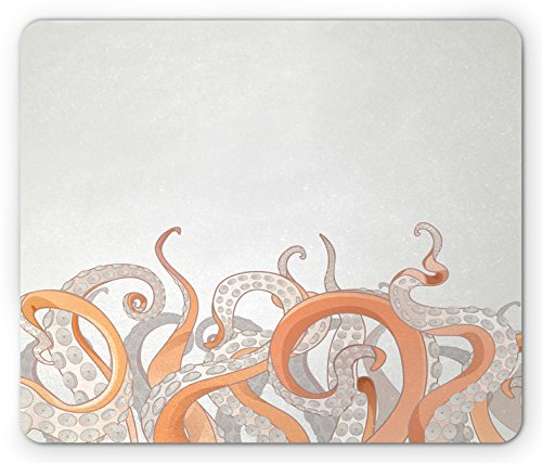 Printawe Octopus Mouse Pad, Octopus Tentacles Background Underwater Marine Nature and Sea Creatures Nautical, Rectangle Non-Slip Rubber Mousepad, Standard Size, Orange Grey