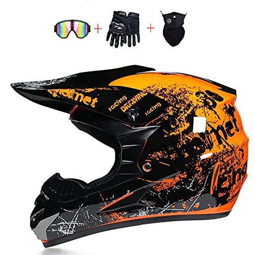 Casco de moto de cross, aprobado por el DOT, casco de motocross, casco todoterreno, casco de motocicleta, MX MTB BMX Downhill para hombres y mujeres, gafas de cuello y guantes