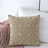 GWrix Fundas de Almohada Decorativa o patrón de Encaje de repetición Neutra Crochet Resumen Texturas Antiguas Silueta Textil Tracería Recorte Funda de Almohada Cuadrada para sofá