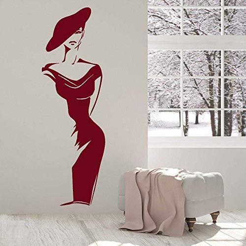 Elegante Moda Mujer Vinilo Pegatinas De Pared Ropa Tienda Decoración De Ventana Pintura Salón Hogar Dormitorio Decoración Pintura 42X131Cm