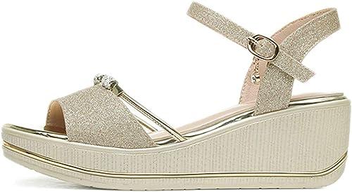 L-X Chaussures Compensées pour Les Les dames Chaussures à Bout Ouvert Chaussures à Bout Ouvert Poissons D'été pour étudiants, Or, 36 UE