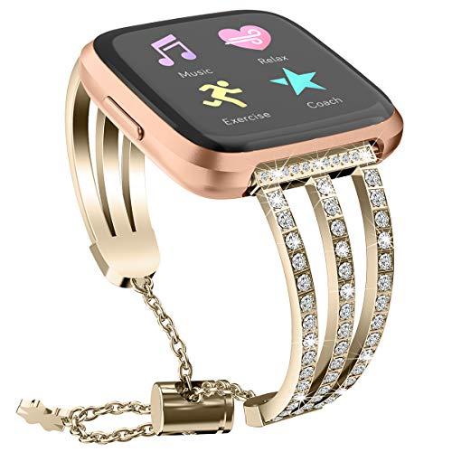 Yimiky Uhrenarmband für Fitbit Versa 2, Bling Strass Schmuck Armband Band Edelstahl Metall Verstellbarer Armreif Ersatz Zubehör Armband für Fitbit Versa/Versa 2 / Versa Lite (Gold)