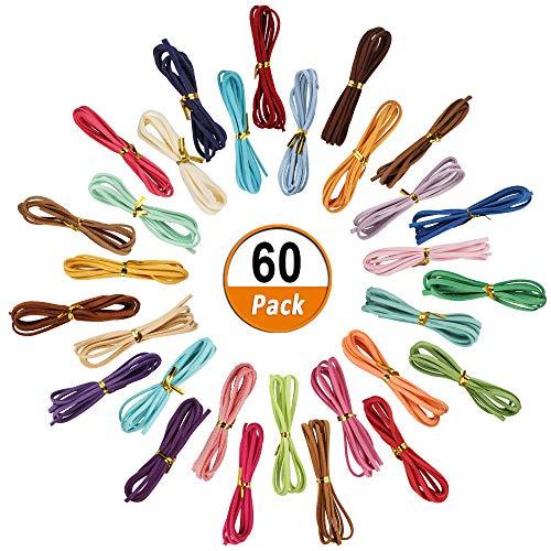 Dadabig 60 stuks 2,7 mm microvezel lederen koord, suède snoer draad suède band gekleurd faux suède koord voor sieraden armband DIY lederen band halsketting geschenk maken (30 kleuren)