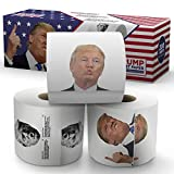 Donald Trump Toilet Paper – The Presidential Pack - 3 Rolls – Funny Political Humor Gag Gift - 2 Full Color Rolls + 1 Trump's Funniest Tweets Roll - Three Ply Bathroom Tissue 200 Sheets Per Roll
