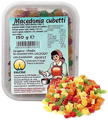 Pavone GR 150 Frutta CANDITA A CUBETTI per Decorazione di Dolci Macedonia per PANETTONI E Colombe