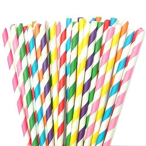 Pajita Papel Biodegradables a Rayas 250 piezas para Decoraci