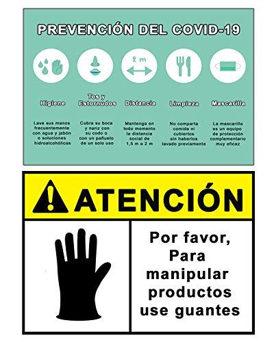Señalización Coronavirus - COVID19 | Señales Uso de Guantes + Pautas Preventivas | Carteles para Empresas, Comercios, Oficinas | Autoinstalable y Resistente a la Intemperie | 21 x 30 cm