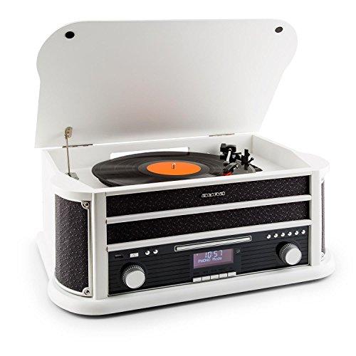 AUNA Belle Epoque 1908 - Tourne-Disque rétro, Radio numérique, Chaîne stéréo, Dab+, Platine Vinyle, Bluetooth, Lecture MP3, Lecteur CD, Fonction RDS - Blanc
