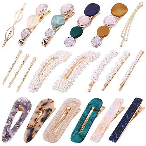 HO2NLE Perle Haarspange Damen, 20 Stücke Perle Haarspange Frauen Haar Pins Metall Haarnadeln Harz Acryl Marmor Mode Haarschmuck für Mädchen Frauen Brautjungfer Braut Hochzeit