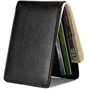 HISSIMO Mens Slim Front Pocket Wallet ID Window Card Case with RFID Blocking